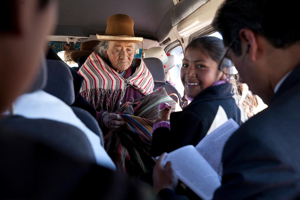 Atmosphere inside a traditional public van near Juliana, Puno, Peru.