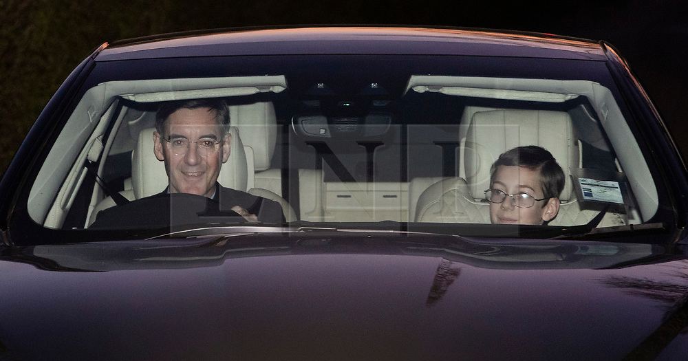 © Licensed to London News Pictures. 24/03/2019. Chequers , UK. Jacob Rees Mogg and his son leave Chequers after meeting with the Prime Minister. There have been reports of a cabinet revolt against Prime Minister Theresa May, over her handing of the Brexit negotiations. Photo credit: Peter Macdiarmid/LNP