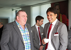 NEWPORT, WALES - Saturday, April 20, 2013: Wales manager Chris Coleman and former goalkeeper Neville Southall at the opening of the FAW National Development Centre in Newport. (Pic by David Rawcliffe/Propaganda)