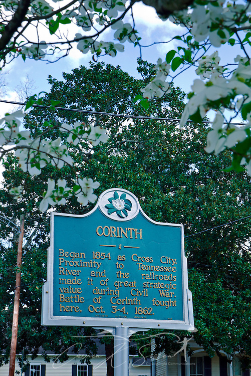 A historic plaque tells the history of Corinth, Mississippi. (Photo by Carmen K. Sisson/Cloudybright)