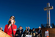 Kelly Stewart speaks during a special ceremony for her father, the late actor Jimmy Stewart, at the Mt. Soledad Veterans Memorial in La Jolla, California on November 08, 2008.