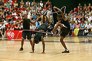 Loughborough, England - Saturday 31 July 2010: Lunga Ntuli, Lebogang Molatoli and Ostile Kgomo of South Africa take part in the Double Dutch Freestyle during the World Rope Skipping Championships held at Loughborough University, England. The championships run over 7 days and comprise junior categories for 12-14 year olds in the World Youth Tournament, 15-17 year olds male and female championships, and any age open championships. In the team competitions, 6 events are judged, the Single Rope Speed, Double Dutch Speed Relay, Single Rope Pair Freestyle, Single Rope Team Freestyle, Double Dutch Single Freestyle and Double Dutch Pair Freestyle. For more information check www.rs2010.org. Picture by Andrew Tobin/Picture It Now.