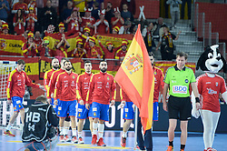 Team of Spain during handball match between National teams of Macedonia and Spain on Day 4 in Main Round of Men's EHF EURO 2018, on January 21, 2018 in Arena Varazdin, Varazdin, Croatia. Photo by Mario Horvat / Sportida