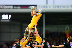 Nizaam Carr of Wasps catches the ball from a line out - Mandatory by-line: Dougie Allward/JMP - 30/11/2019 - RUGBY - Sandy Park - Exeter, England - Exeter Chiefs v Wasps - Gallagher Premiership Rugby