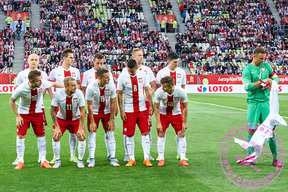 Up raw (L-R) Michal Pazdan, Arkadiusz Milik, Thiago Cionek, Kamil Glik, Marcin Komorowski, dawn raw: Jakub Blaszczykowski, Kamil Grosicki, Piotr Zielinski, Ariel Borysiuk, Karol Linetty wait for goalkeeper Artur Boruc for pose to team photo during international friendly soccer match between Poland and Greece at PGE Arena Stadium on June 16, 2015 in Gdansk, Poland.<br /> Poland, Gdansk, June 16, 2015<br /> <br /> Picture also available in RAW (NEF) or TIFF format on special request.<br /> <br /> For editorial use only. Any commercial or promotional use requires permission.<br /> <br /> Adam Nurkiewicz declares that he has no rights to the image of people at the photographs of his authorship.<br /> <br /> Mandatory credit:<br /> Photo by &copy; Adam Nurkiewicz / Mediasport
