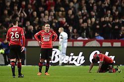 March 10, 2018 - Rennes, France, France - satisfaction des joueurs de Rennes en fin de match KHAZRI Wahbi  (Credit Image: © Panoramic via ZUMA Press)