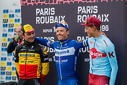 Podium with winner Phillipe Gilbert (BEL) of Deceuninck - Quick Step (WT) during the 2019 Paris-Roubaix (1.UWT) with 257 km racing from Compiègne to Roubaix, France. 14th april 2019. Picture: Pim Nijland | Peloton Photos  <br /> <br /> All photos usage must carry mandatory copyright credit (Peloton Photos | Pim Nijland)