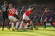 Arsenal striker, Danny Welbeck (23) trying to find a wway through during the The FA Cup Quarter Final match between Arsenal and Watford at the Emirates Stadium, London, England on 13 March 2016. Photo by Matthew Redman.