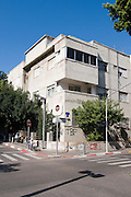 Israel, Tel Aviv, Old dilapidated Bauhaus building at 75 Rothschild Boulevard corner of Mazeh Street UNESCO has declared Tel Aviv an international heritage site because of the abundance of the Bauhaus architectural style