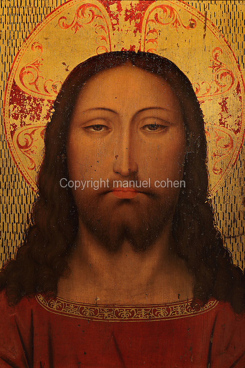 Holy Face of Jesus, painting, 15th century, Flemish artist, originally from the Mosteiro do Lorvao, in the Museu Nacional de Machado de Castro, Coimbra, Portugal. The museum was opened in 1913 and renovated 2004-2012. The city of Coimbra dates back to Roman times and was the capital of Portugal from 1131 to 1255. Its historic buildings are listed as a UNESCO World Heritage Site. Picture by Manuel Cohen