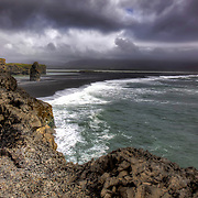 A beautiful black sand beach at Reynisfjara near the town of Vik, Iceland.