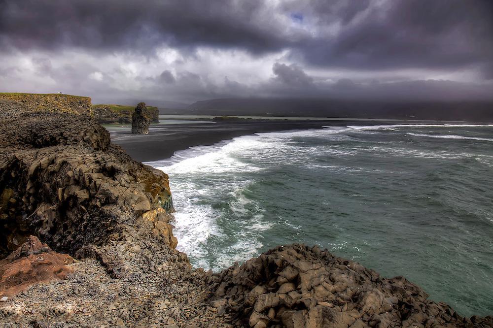 A beautiful black sand beach at Reynisfjara near the town of Vik, Iceland.