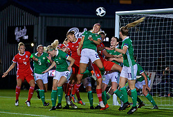 NEWPORT, WALES - Tuesday, September 3, 2019: Wales' Emma Jones (L) and Elise Hughes (R)  challenge Northern Ireland's Rachel Newborough for a header during the UEFA Women Euro 2021 Qualifying Group C match between Wales and Northern Ireland at Rodney Parade. (Pic by David Rawcliffe/Propaganda)