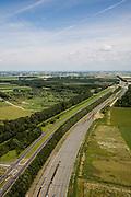 Nederland, Flevoland, Lelystad, 09-04-2008; opstelsporen en emplacement van de spoorwegen bij Lelystad, beginpunt van de nieuwe spoorlijn tussen Lelystad en Zwolle: de Hanzelijn; spoorlijn is in aanleg, in gebruik 2013 . .luchtfoto (toeslag); aerial photo (additional fee required); .foto Siebe Swart / photo Siebe Swart