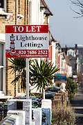 Let & For Sales signs, Duckett Road, Harringay. London.