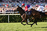 LUCANDER (5) ridden by Rob Hornby and trained by Ralph Beckett winning The Napoleons Casinos & Restaurants Nursery Handicap Stakes over 1m (£20,000)  during the fourth and final day of the St Leger Festival at Doncaster Racecourse, Doncaster, United Kingdom on 14 September 2019.