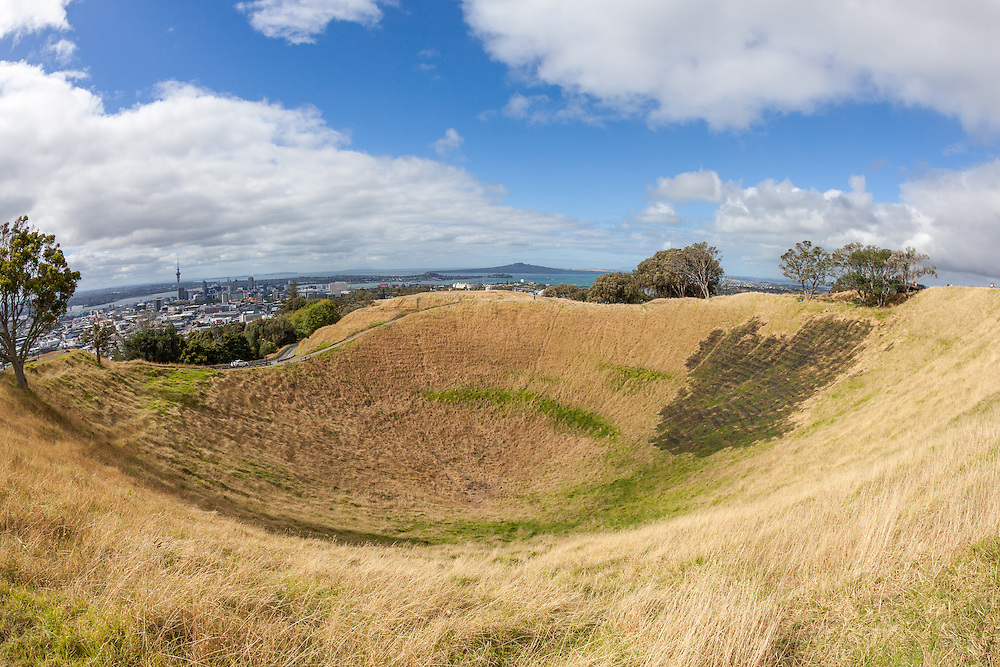 Looking toward downtown Auckland over the caldera of extinct volcano Mount Eden.