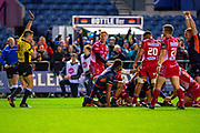 Mike Willemse (#2) of Edinburgh Rugby scores his second try during the Guinness Pro 14 2019_20 match between Edinburgh Rugby and Scarlets at BT Murrayfield Stadium, Edinburgh, Scotland on 26 October 2019.