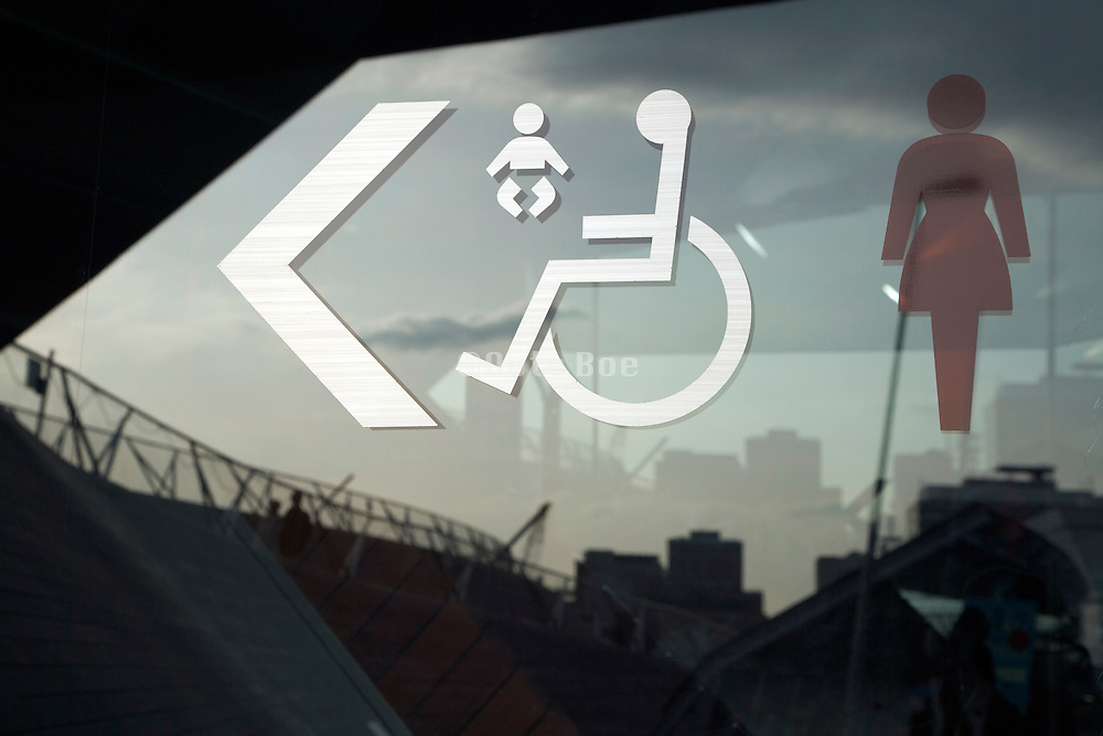sign to female, handicap toilets and baby dressing room