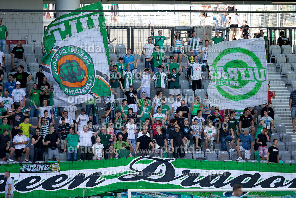 Green Dragons, fans of Olimpija, during football match between NK Olimpija Ljubljana and Tromsø IL  (NOR) in 1st Leg of UEFA Europa League 2013 2nd  Qualifying Round, on July 19, 2012 in SRC Stozice, Ljubljana, Slovenia. (Photo by Matic Klansek Velej / Sportida.com)
