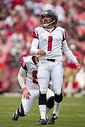 October 11, 2009; San Francisco, CA, USA;  Atlanta Falcons kicker Jason Elam (1) kicks an extra point against the San Francisco 49ers in the fourth quarter at Candlestick Park. Atlanta won 45-10.