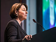 21 AUGUST 2019 - ALTOONA, IOWA: US Senator AMY KLOBUCHAR (D-MN) talks to union members at the Iowa Federation of Labor convention. Many of the Democratic presidential candidates are addressing the Iowa Federation of Labor convention at the Prairie Meadow Casino in Altoona. They are hoping to secure labor support before the Iowa Caucuses on Feb. 3, 2020.      PHOTO BY JACK KURTZ