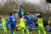 AFC Wimbledon defender Mads Bech Sorensen (26) winning header in the box during the EFL Sky Bet League 1 match between AFC Wimbledon and Bolton Wanderers at the Cherry Red Records Stadium, Kingston, England on 7 March 2020.