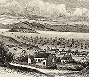 View San Francisco c1860, looking out towards the bay.  Engraving.