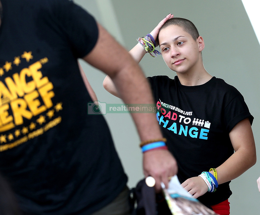 """Former Marjory Stoneman Douglas High School student Emma Gonzalez at a news conference for the """"March for Our Lives"""" movement on June 4, 2018 at the Pines Trails Park in Parkland, FL, USA. Photo by Charles Trainor Jr./Miami Herald/TNS/ABACAPRESS.COM"""