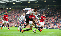 16.03.2014, Old Trafford, Manchester, ENG, Premier League, Manchester United vs FC Liverpool, 30. Runde, im Bild Liverpool's Daniel Sturridge, action against Manchester United // during the English Premier League 30th round match between Manchester United and Liverpool FC at Old Trafford in Manchester, Great Britain on 2014/03/16. EXPA Pictures &copy; 2014, PhotoCredit: EXPA/ Propagandaphoto/ David Rawcliffe<br /> <br /> *****ATTENTION - OUT of ENG, GBR*****