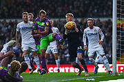 Will Huffer of Leeds United (13) collects the ball from the free-kick under pressure from Andreas Weimann of Bristol City (14) during the EFL Sky Bet Championship match between Leeds United and Bristol City at Elland Road, Leeds, England on 24 November 2018.
