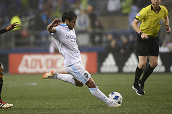 October 8, 2018 - Seattle, Washington, U.S - Seattle forward NICO LODEIRO (10) takes a shot on goal as the Houston Dynamo visits the Seattle Sounders in a MLS match at Century Link Field in Seattle, WA. Seattle won the match 4-1. (Credit Image: © Jeff Halstead/ZUMA Wire)