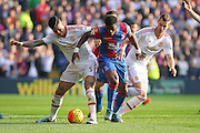 Marcos Rojo of Manchester United battles with Wilfried Zaha (11) of Crystal Palace during the Barclays Premier League match between Crystal Palace and Manchester United at Selhurst Park, London, England on 31 October 2015. Photo by Phil Duncan.