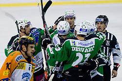 Team HDD Tilia Olimpija during ice-hockey match between HDD Tilia Olimpija and Moser Medical Graz 99ers in 21st Round of EBEL league, on November 21, 2010 at Hala Tivoli, Ljubljana, Slovenia. (Photo By Matic Klansek Velej / Sportida.com)