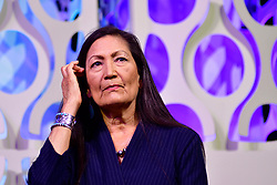 Rep. Deb Haaland (D-NM) takes part in a panel discussion led by Aimee Allison, touching the changes of the face of power in the United States after a history making number of diverse members were sworn into Congress the past elections, during a keynote discussion of the Netroots Nation progressive grassroots convention in Philadelphia, PA, on July 13, 2019.
