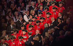 © London News Pictures. Pictured: Chelsea Pensioners make their way to the centre of The Royal Albert Hall, London during the Festival of Remembrance on Saturday 7th November 2015. Photo credit: Max Bryan/LNP