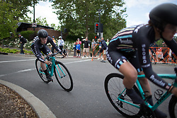 A Drops Cycling Team rider tackles a fast corner during the second, 20.3 km team time trial stage of the Amgen Tour of California - a stage race in California, United States on May 20, 2016 in Folsom, CA.