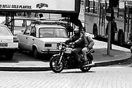 Roma  1985.Motociclista su una Moto Morini.Motorcycle on a Moto Morini