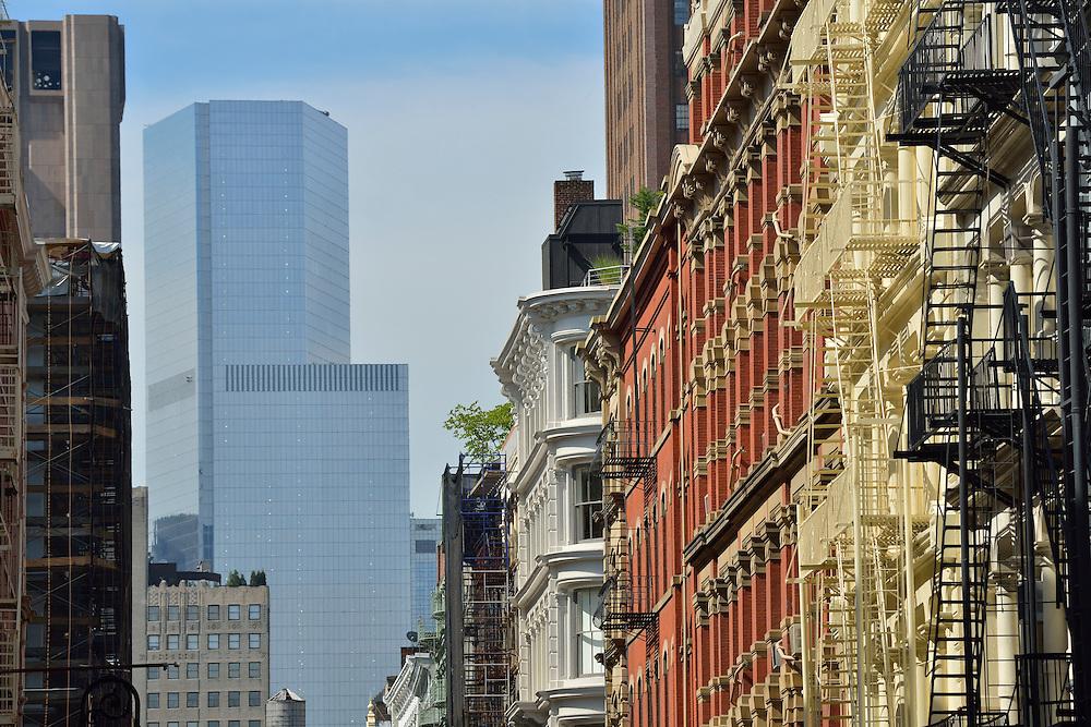 View towards  World Trade Center Complex from Soho, Manhattan, New York, USA