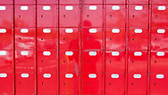 Rows of bright red post office boxes in Gaborone, Botswana. Gaborone is the capital city of Botswana, and is considered one of the fastest growing cities in Africa.