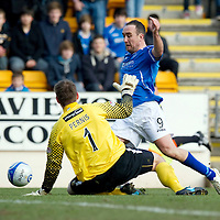 St Johnstone v Dundee United...11.02.12.. SPL<br /> Lee Croft goes down but the ref books him for diving<br /> Picture by Graeme Hart.<br /> Copyright Perthshire Picture Agency<br /> Tel: 01738 623350  Mobile: 07990 594431