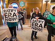 05 MARCH 2020 - ST. PAUL, MINNESOTA: Women at a rally in support of the ERA in the rotunda at the Minnesota State Capitol. About 75 people, mostly women, came to the capitol to support ratification of the Equal Rights Amendment and mark the local observance of International Women's Day. International Women's Day is celebrated on March 8 around the world.   PHOTO BY JACK KURTZ