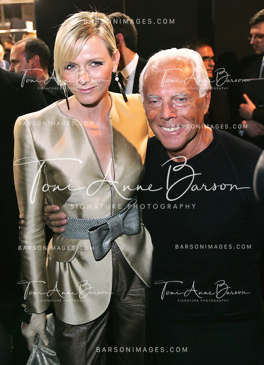 PARIS - JANUARY 26:   Charlene Wittstock with designer Giorgio Armani at the Giorgio Armani Prive fashion show during Paris Haute Couture Fashion Week Spring/Summer 2009 at the Palais de Chaillot on January 26, 2009 in Paris, France.  (Photo by Tony Barson/WireImage)