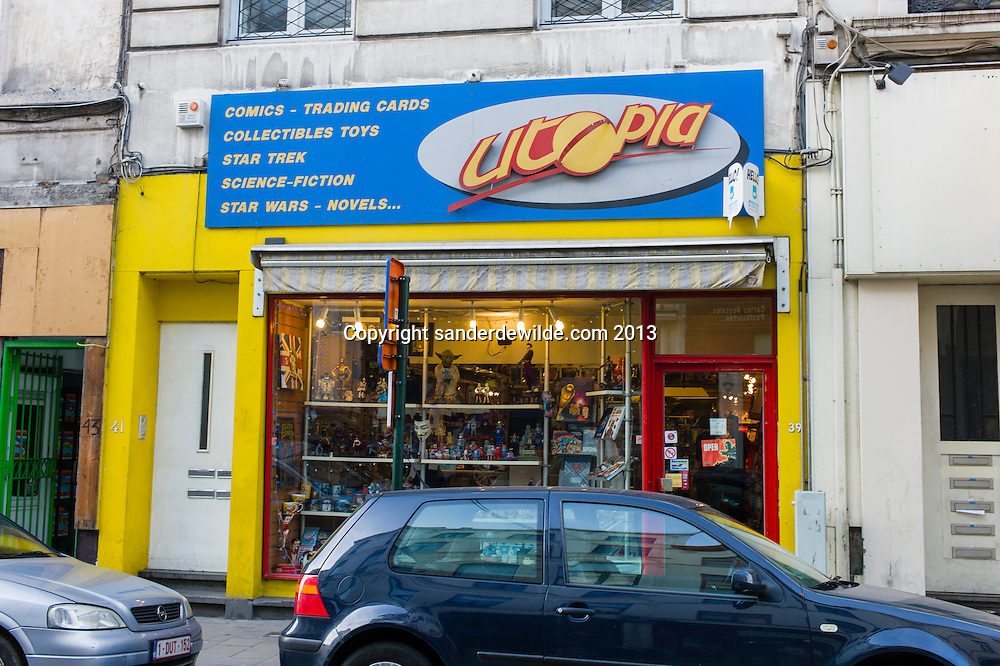 Brussels 8th december 2013 Utopia is a famous comics shop in Brussels rue de midi. They also sell collectible toys, science-fiction, novels.storefront
