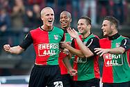 27-08-2011: Voetbal:NEC Nijmegen:Heracles Almelo:Niijmegen<br /> NEC's Nick VAN DER VELDEN viert zijn doelpunt met zijn ploeggenoten NEC's Dammyano GROOTFAAM,  NEC's Remy AMIEUX,NEC's Bram NUYTINCK <br /> Foto: Geert van Erven