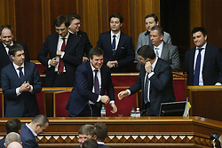 Members of the Ukrainian new cabinet attend a parliament session after parliament approved the formation of a new cabinet in Kiev, Ukraine on April 14, 2016. The Ukrainian parliament approved the formation of a new cabinet on Thursday following a replacement of the prime minister. EXPA Pictures © 2016, PhotoCredit: EXPA/ Photoshot/ Xinhua<br /> <br /> *****ATTENTION - for AUT, SLO, CRO, SRB, BIH, MAZ, SUI only*****