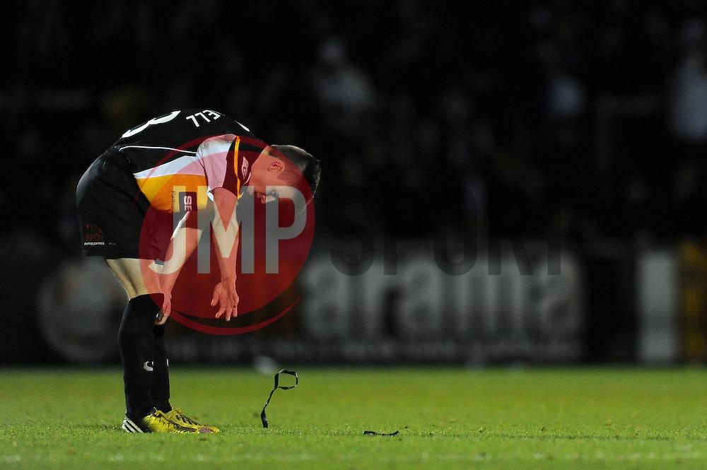 Gateshead's JJ O'Donnell cuts a dejected figure - Photo mandatory by-line: Dougie Allward/JMP - Mobile: 07966 386802 - 19/12/2014 - SPORT - football - Bristol - Memorial Stadium - Bristol Rovers v Gateshead  - Vanarama Conference
