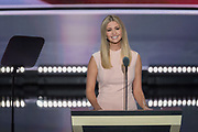 Ivanka Trump, daughter of GOP Presidential candidate Donald Trump addresses delegates on the final day of the Republican National Convention July 21, 2016 in Cleveland, Ohio.
