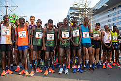 07-04-2019 NED: 39e NN Rotterdam Marathon, Rotterdam<br /> Start 39th marathon of Rotterdam with winner Marius Kipserem KEN, Abdi Nageeye and Khalid Choukoud