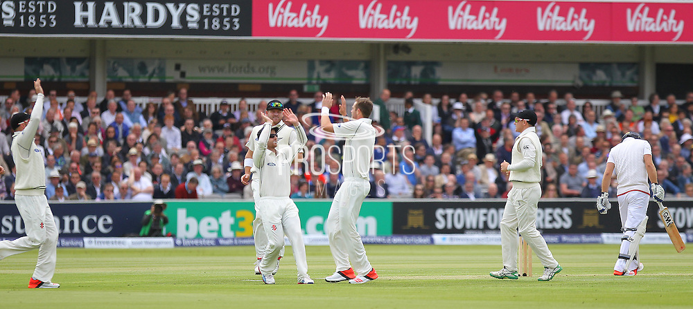 New Zealand Tim Southee gets the wicket of England debutant Adam Lyth for 7 caught New Zealand Captain BJ Watling during the first day of the Investec 1st Test  match between England and New Zealand at Lord's Cricket Ground, St John's Wood, United Kingdom on 21 May 2015. Photo by Ellie  Hoad.